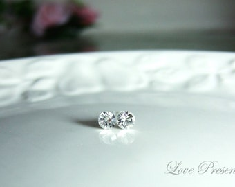 Swarovski Crystal 1 Carat Size Stud Earrings Post - Color Clear Crystal - Hypoallergenic or Metal post - Choose your post