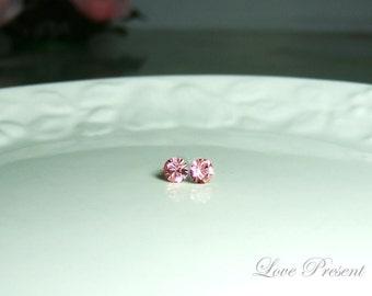 Swarovski Crystal Petite Stud Earrings Post - Minimal Simple Jewelry - Color Light Rose - Hypoallergenic or Metal post - Choose your post