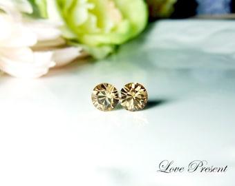 Swarovski Crystal 1 Carat Size Stud earrings Post - Color Light Colorado - Hypoallergenic or Metal post - Choose your post