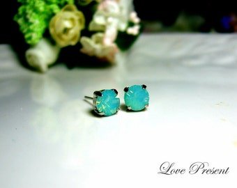 Swarovski Crystal Stud Typical 1.25 Carat Pierced Earrings - Bridesmaid Gift. Simple Modern Jewelry - Color Pacific Green Opal
