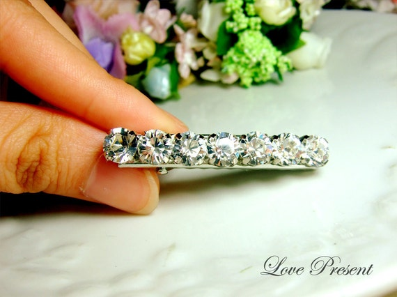 Extra Shine Bridesmaids Hair Jewlery Alligator Hair Clip with Swarovski Crystal - Choose your color