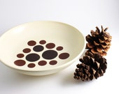 Polka Dot Bowl - Chocolate and Cocoa Spots on Cream Bowl