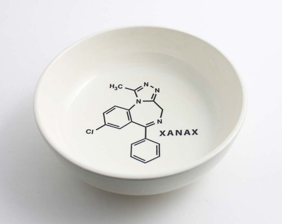 Xanax Molecule Chemistry Bowl in Black and White