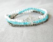 SALE - Sterling Silver Cubic Zirconia CZ Fleur de Lis Pyrite Turquoise and White Czech Glass Wrap Bracelet