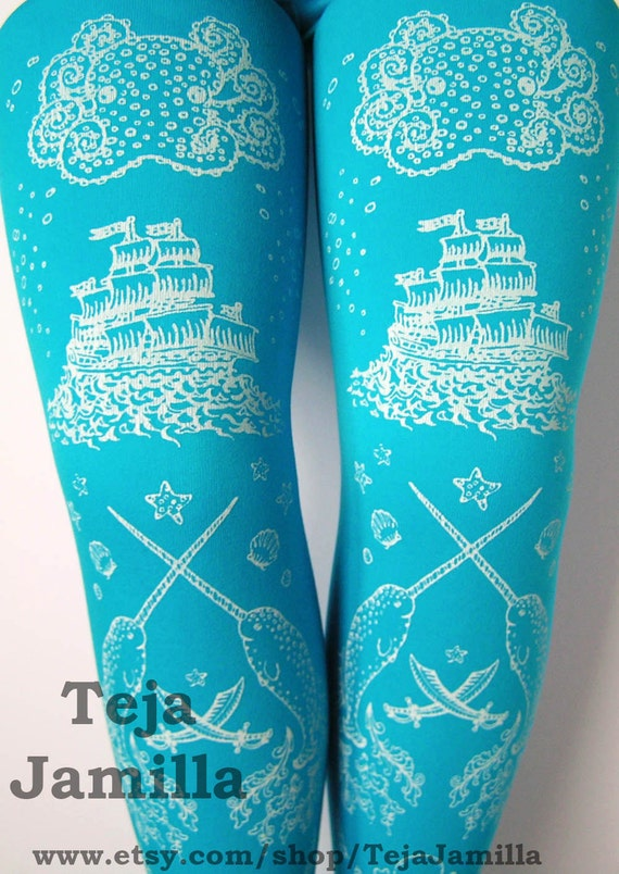 Octopus Tights Pirate Printed Small Medium White on Deep Turquoise Blue Women
