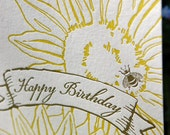 Sunflower and Bee letterpress Happy Birthday card - folded, blank - single