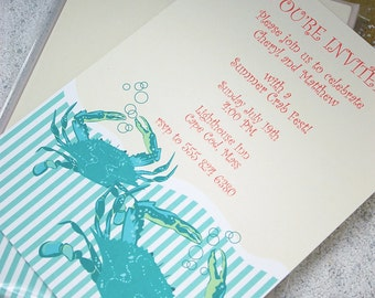 Turquoise crab with stripe wave - imprintable invitations - 10 pack