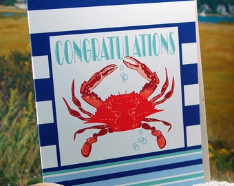 Congratulations crab with nautical stripe - blank inside, single greeting card