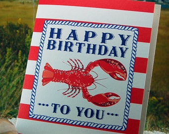 Lobster Birthday Card - blank inside - single, folded greeting