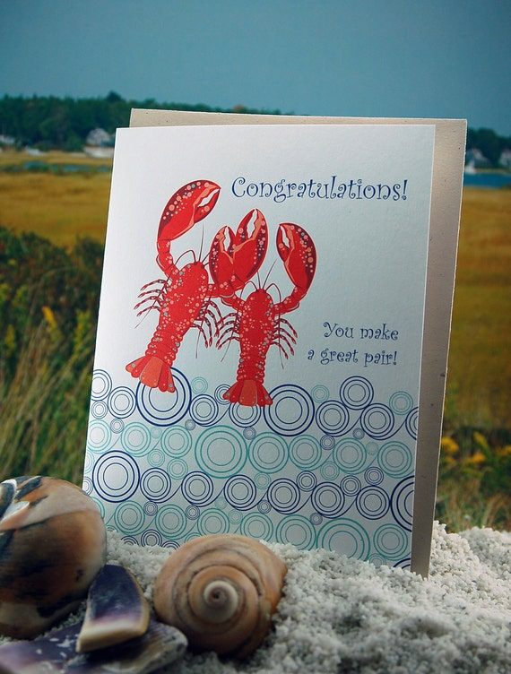 Lobster congratulations - folded, blank - single card