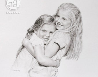 Large Custom Pencil Portrait - high quality Pencil Drawing from your photo - Wedding Family Couple Portrait - size 11x14 14x18 16x20