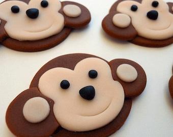 12 Edible MONKEY Cupcake Toppers. FREE CIRCLES