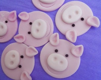 12 EDIBLE PIG Cupcake Toppers