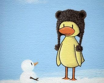 Ducky Meets Snowman 8 x 10 canvas matted winter art print