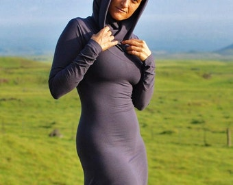 Gray Dress - Deep Cowl Hoodie - Eco Fashion - Several Colors Available  - Eco Friendly - Organic Clothing