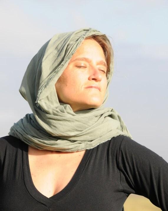 Scarf  - Shawl Wrap  - Light Green Gauze Organic Cotton - Eco Friendly - Organic Clothing