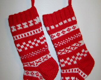 SALE Christmas stockings hand knit red and white pair with FREE U.S. shipping