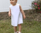 Girls White Pique Jumper Dress, Aline Jumper with option for monogram or Applique with Upgrade