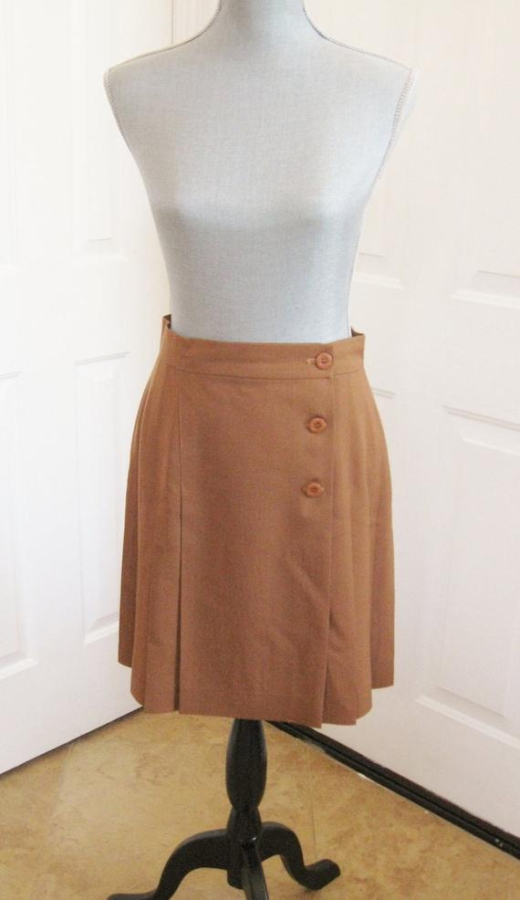 Vintage Tan Wool Wrap Around Pleated Skirt