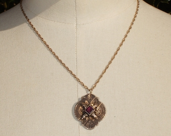 Victorian Amethyst  Gold Lavalier Pendant Necklace