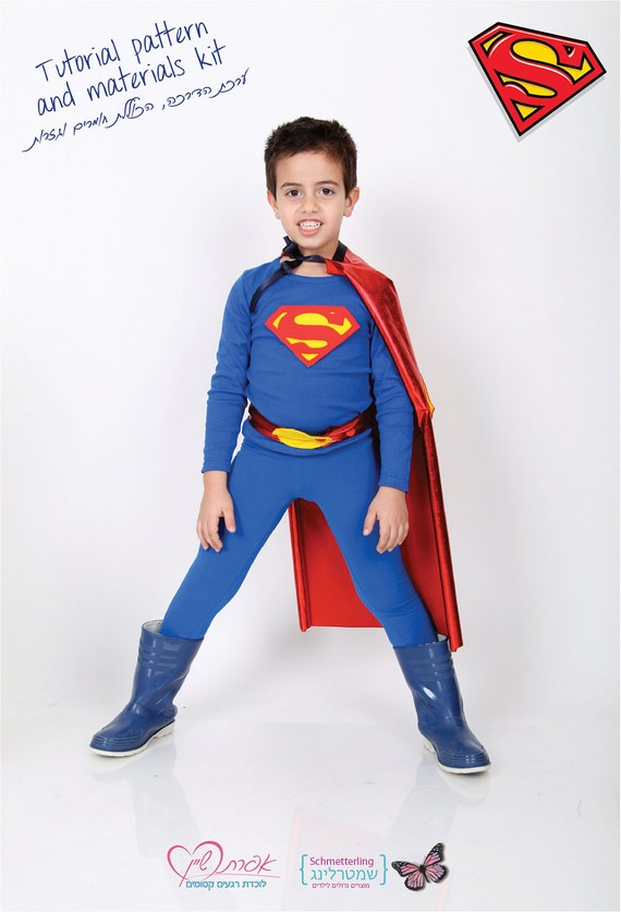 items similar to kids superman costume diy costume kit tutorial pattern and materials on etsy. Black Bedroom Furniture Sets. Home Design Ideas