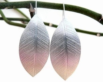 Sterling Silver Leaf Imprint Earrings - Textured - Large Earrings - Organic - Silver Leaf - Sterling Silver Jewelry - Handcrafted Jewelry