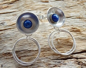 Sterling silver stud earrings with lapis lazuli. Silver stud earrings. Silver jewellery. Handmade. MADE TO ORDER.
