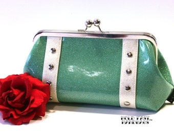 Aqua Sparkle Vinyl Clutch with Your Choice of Trim - MADE TO ORDER