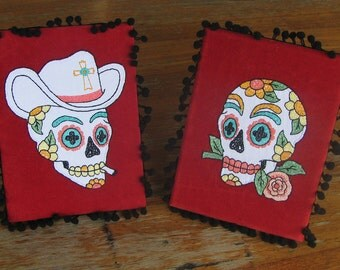 Pair of His n Hers Mexican Day of the Dead Sugar Skull Framed Embroidered Portraits