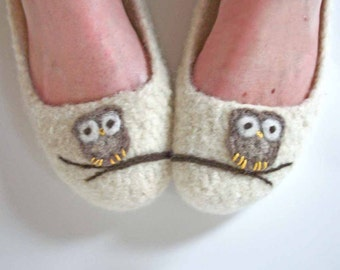 Woman's Felted Wool Slippers - The Ade - Cream / Owl Lovers / Tree Branch / Ballet Style / Handmade Summer Slipper - MADE TO ORDER