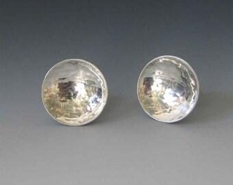 Handmade Round Studs - Minimalist Round Studs - Minimalist Sterling Silver Studs - HandForged Silver Posts - Silver Post Earrings -FREE SHIP