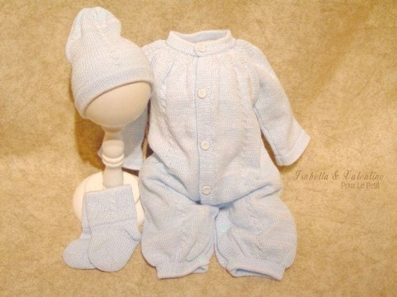 NEWBORN 0m Baby Blue 3p LIGHT BLUECable Heirloom Knit Special Occasion Baby Boy Clothing Isabella and Valentino