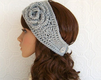 Crochet headband, headwrap, ear warmer with flower - gray mist - Winter Fashion Accessories by Sandy Coastal Designs - made order