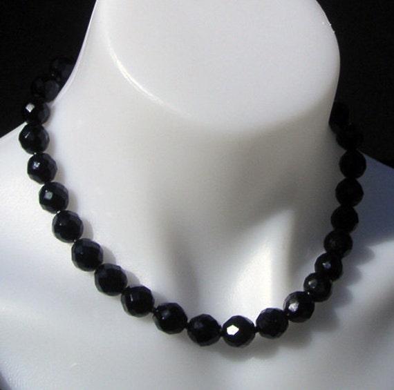 Classic Vintage Hobe Designer Faceted Black Crystal Necklace