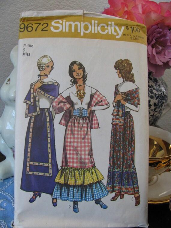 Vintage Simplicity Pattern 9672 Skirt, Stole and Vest Petite Size 6, Uncut