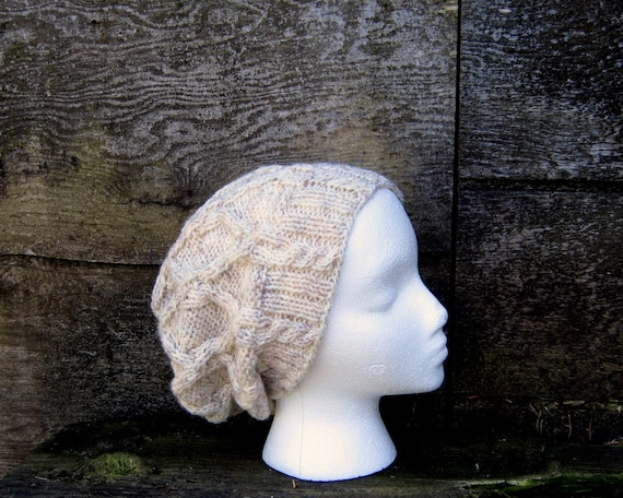 Cabled Celebrity Slouch Beanie in Wheat - Ready to Ship