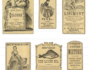 Antique Apothecary Labels Digital Download Vintage Pharmacy Druggist Drugstore General Store Perfume Potion Oil Spice Bottles Jars Old (106)