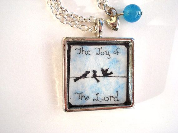 Bird pendant wearable art hand painted necklace Christian jewelry in silver with chain Joy of the Lord