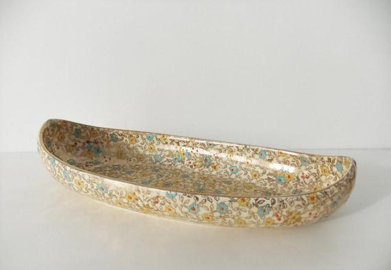 Vintage Royal Winton Grimwades Chintz dish - Cloisonné or Gold Leaves celery dish/ celery bowl