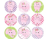 Pink Elephants Bottle Cap Images 1 Inch Circles Digital Collage Sheet for Bottlecaps Hairbows Jewelry Magnets and More INSTANT DOWNLOAD