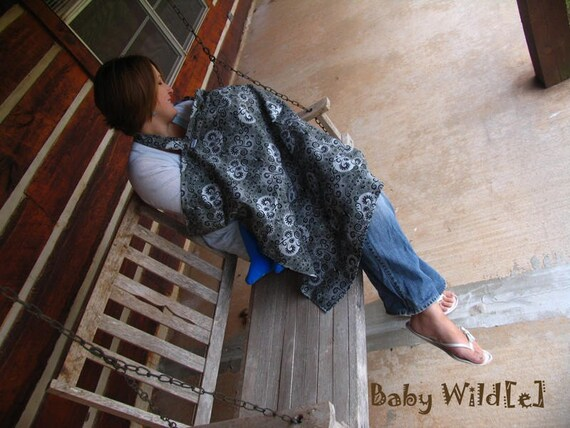 Nursing Cover Oversize Black Gray and Silver Moon and Swirls Extra Large Breastfeeding Cover - Moonlight