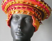 Orangy Earthy Crochet Hat with Metal Leaves... Topped with a Large Felt Flower...