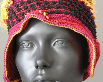 Bright Orange & Yellow Cotton Crochet Hat with Wooden Beads and Large Wooden Button...