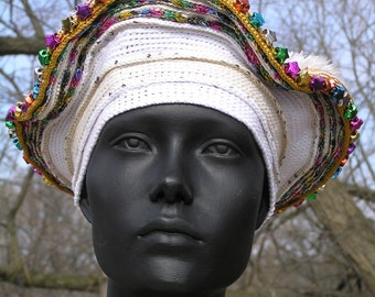 White Mega Crochet Hat with Lovely Metallic Stars to Brighten your Life...
