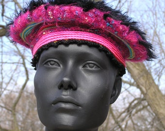 Cute Pink & Black Fuzzy Crochet Hat with a Little Black Fabric Flower...