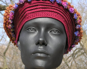 Burgundy & Ocre Crochet Hat with a Huge Gold Plated Leaf...