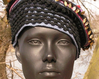 Blue & Black with Pinks Crochet Hat with Metal Leaf Findings with Plastic Beads...