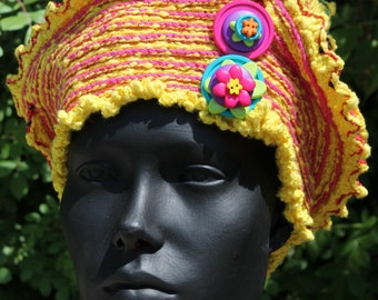 Bright Yellow Crochet Hat with Two Beautiful Buttons...