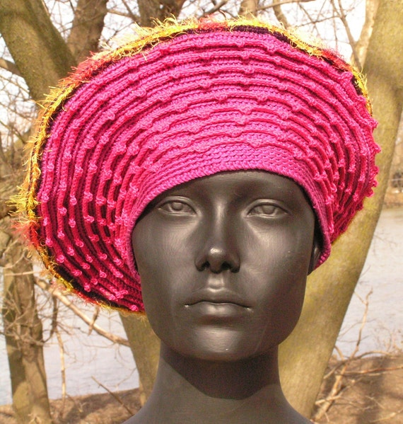 Humungous Pink Beret Crochet Hat with a Little Ocre Pin...