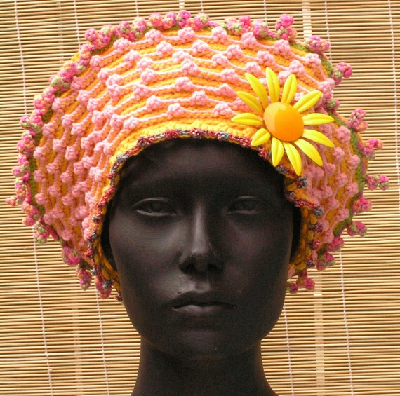 Soft Pink & Yellow Mega Crochet Hat with a Beautiful Sunny Metal Flower Pin...